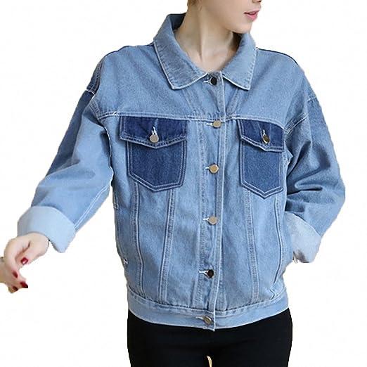 Huiwa Womens Denim Jacket Patchwork Slim Fit Denim Coats For Single Breasted Plus Size Jeans Jackets