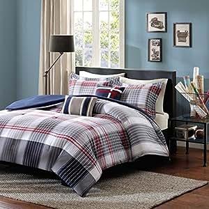 Amazon Com 5 Piece Red Dark Blue Grey Madras Plaid