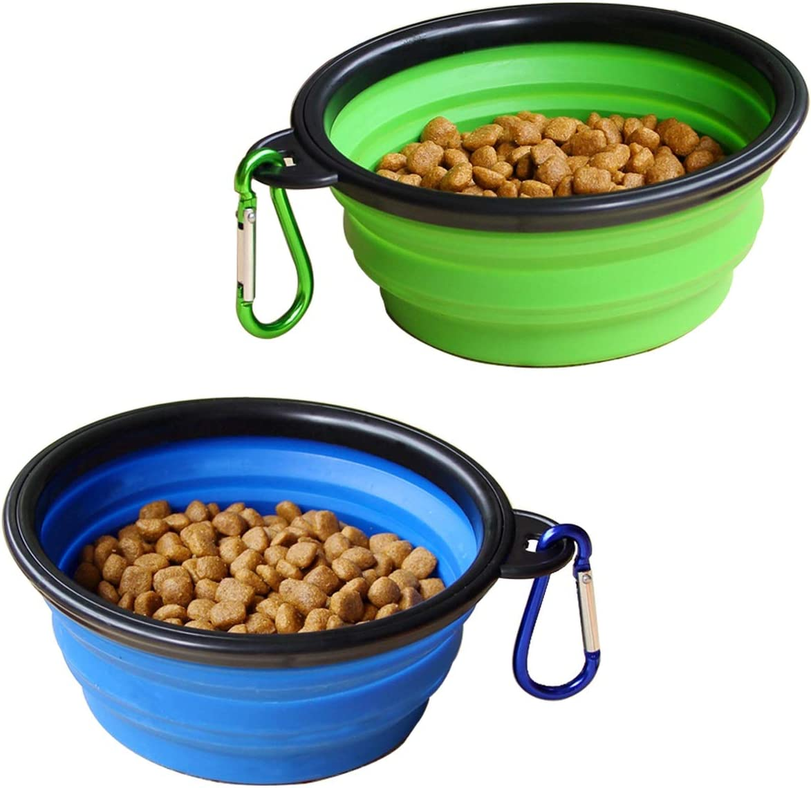 Collapsible Dog Bowl, 2 Pack Foldable Pet Travel Bowl, for Outdoor Camping Pet Food Water Bowl