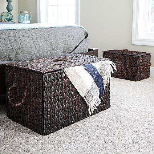 "Household Essentials ML-6615B Extra Large Wicker Storage Box with Lid - 15.94""H x 27""W x 16.9""D - Dark Brown"