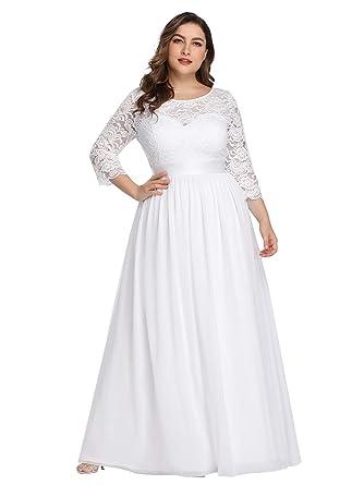 Ever Pretty Robes De Soirée Femme Grande Taille Longue Manches 34 En Dentelle 07412pl