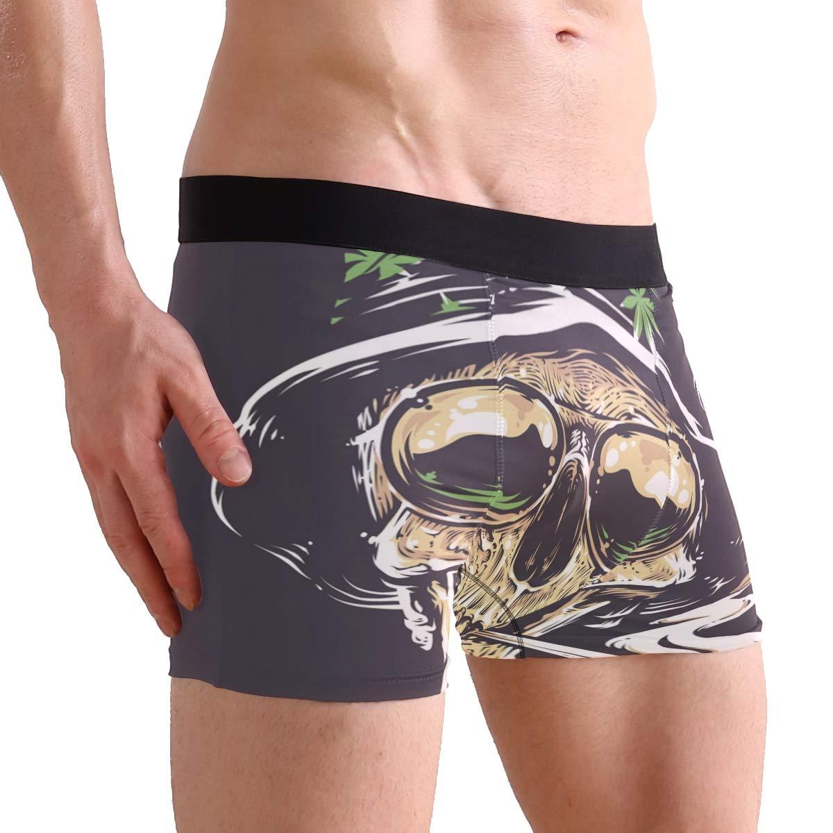 Mens 2-Pack Boxer Briefs Polyester Underwear Trunk Underwear with Skull Art Design