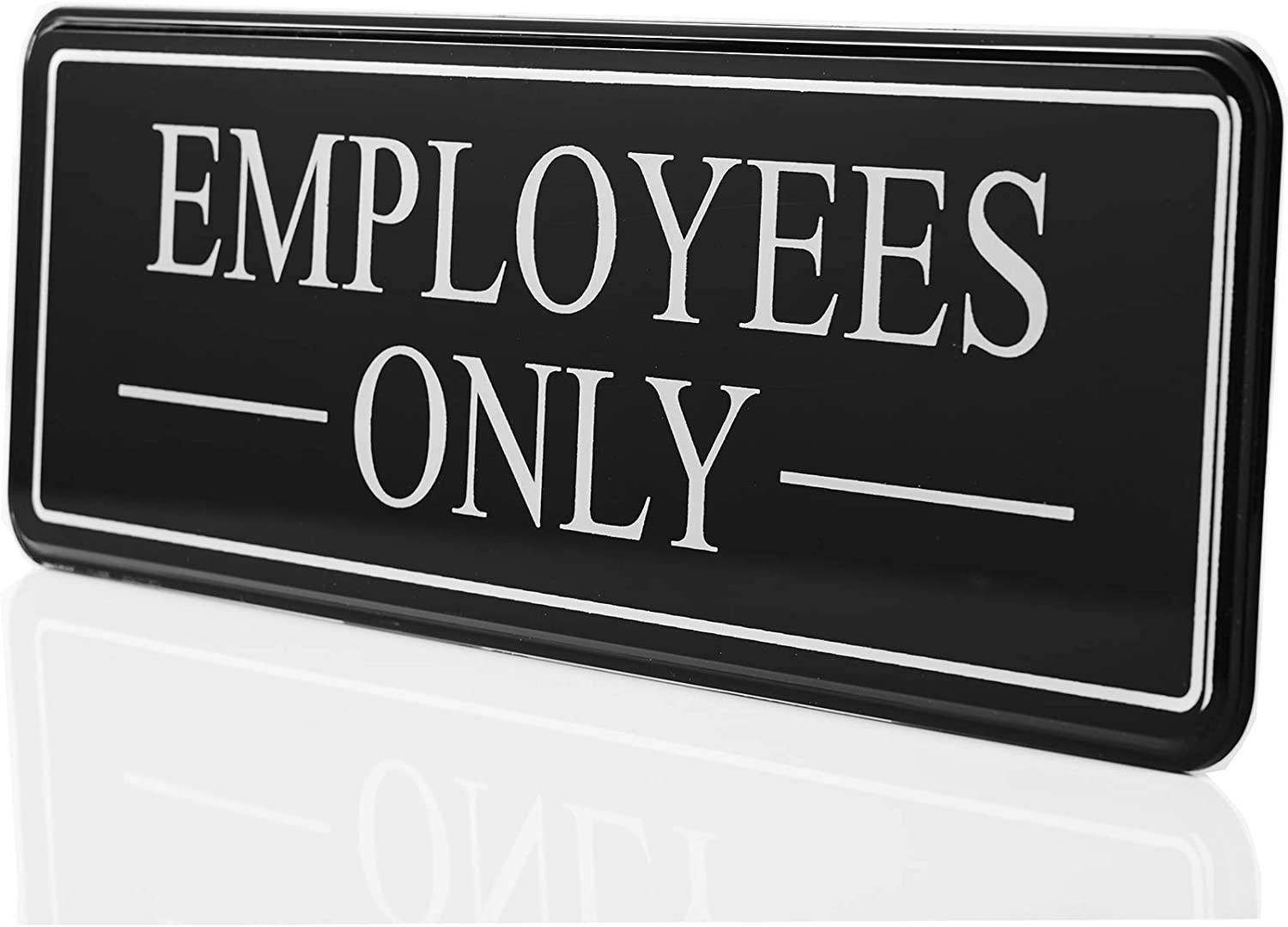 "Bebarley Employees Only Sign for Office Door Wall Home and Business,Premium Durable and Bright Acrylic Design 9""x3"" Sign with Double Sided 3M self-Adhesive Tape"