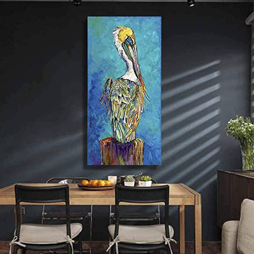 Colorful Pelican Canvas Wall Art Bird Paintings Animal Paintings Blue Turquoise 3D Texture Hand Oil Paintings Modern Home Decor Art Pictures Living Room Wall Decor Office 24″x48″