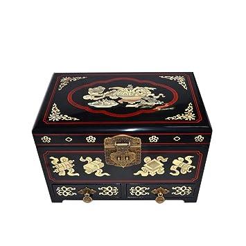 irugh Joyero Caja Madera Almacenamiento Chino Pingyao Empuje luz Laca artesanía joyería Almacenamiento Caja Todos: Amazon.es: Hogar