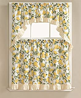 Exceptional Country Lemon Fest 3 Pc. Kitchen Curtain Tier U0026 Swag Set By GoodGram