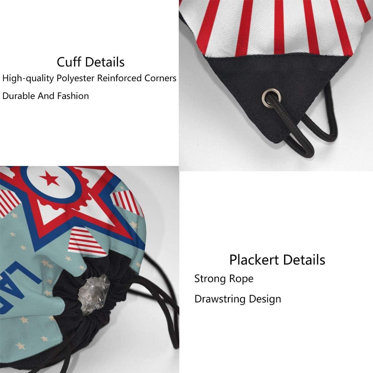 Ljxing Us Flag Labor Day Funny Gym Drawstring Bags Travel Backpack Tote Rucksack