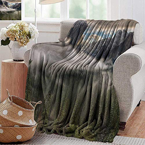 "Baby Blanket Sun Peaks Over The Sierras for Its First Glimpse of The Yosemite Valley in a Misty Morning Green Super Soft Light Weight Cozy Warm Plush Hypoallergenic Blanket 50""x70"""