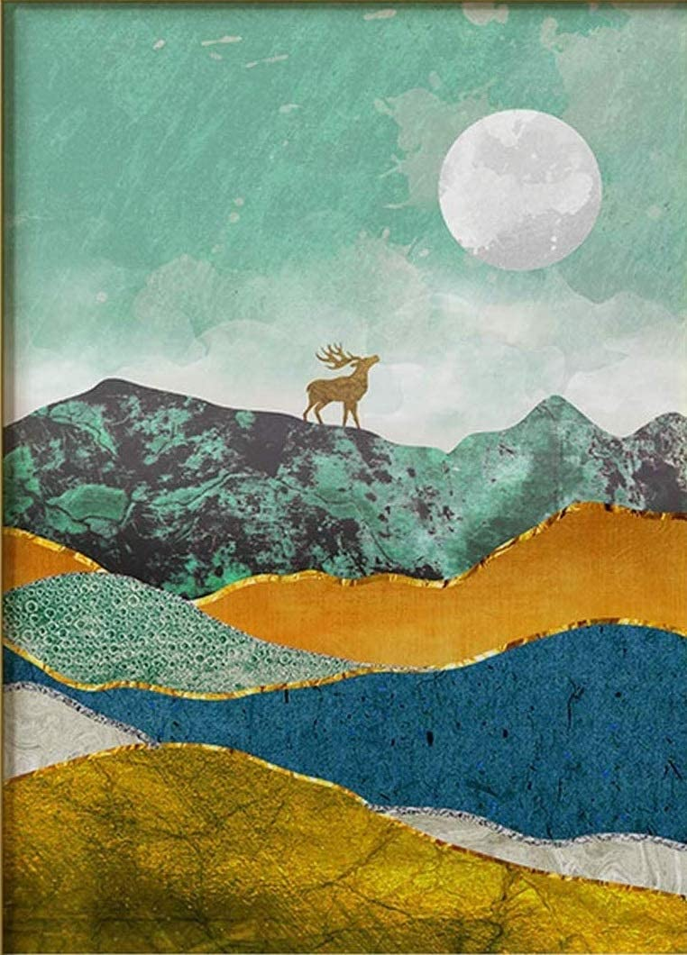 """DIY Paint by Numbers Kit for Adults - Moon and Deer 