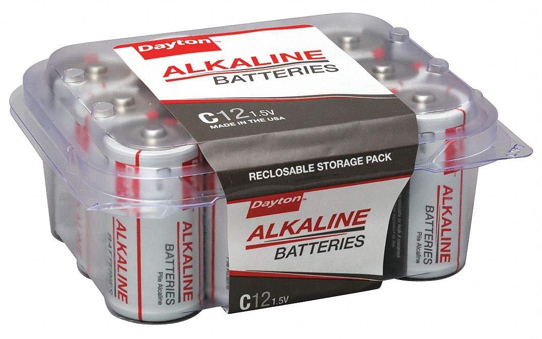 C Standard Battery, Dayton, Alkaline, PK12 - pack of 5