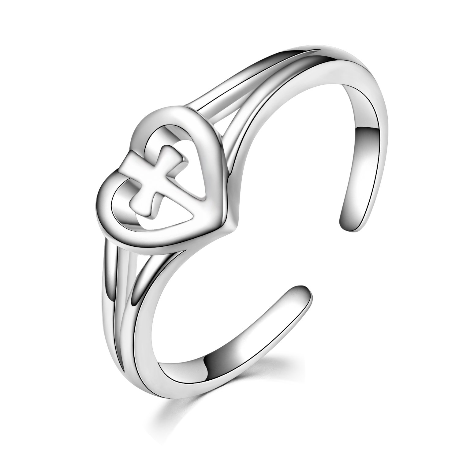 Love Cross Rings Sterling Silver Adjustable Open Polished Christian Heart Promise Anniversary Rings for Her, Size 7