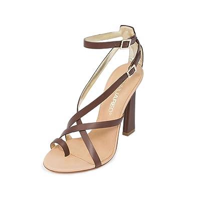 718e9832ff Amazon.com: DSQUARED2 Women Matte Coffee Brown Leather Toe Ring High  Stilettos Sandals Shoes US 9 EU 39: DSQUARED2: Shoes