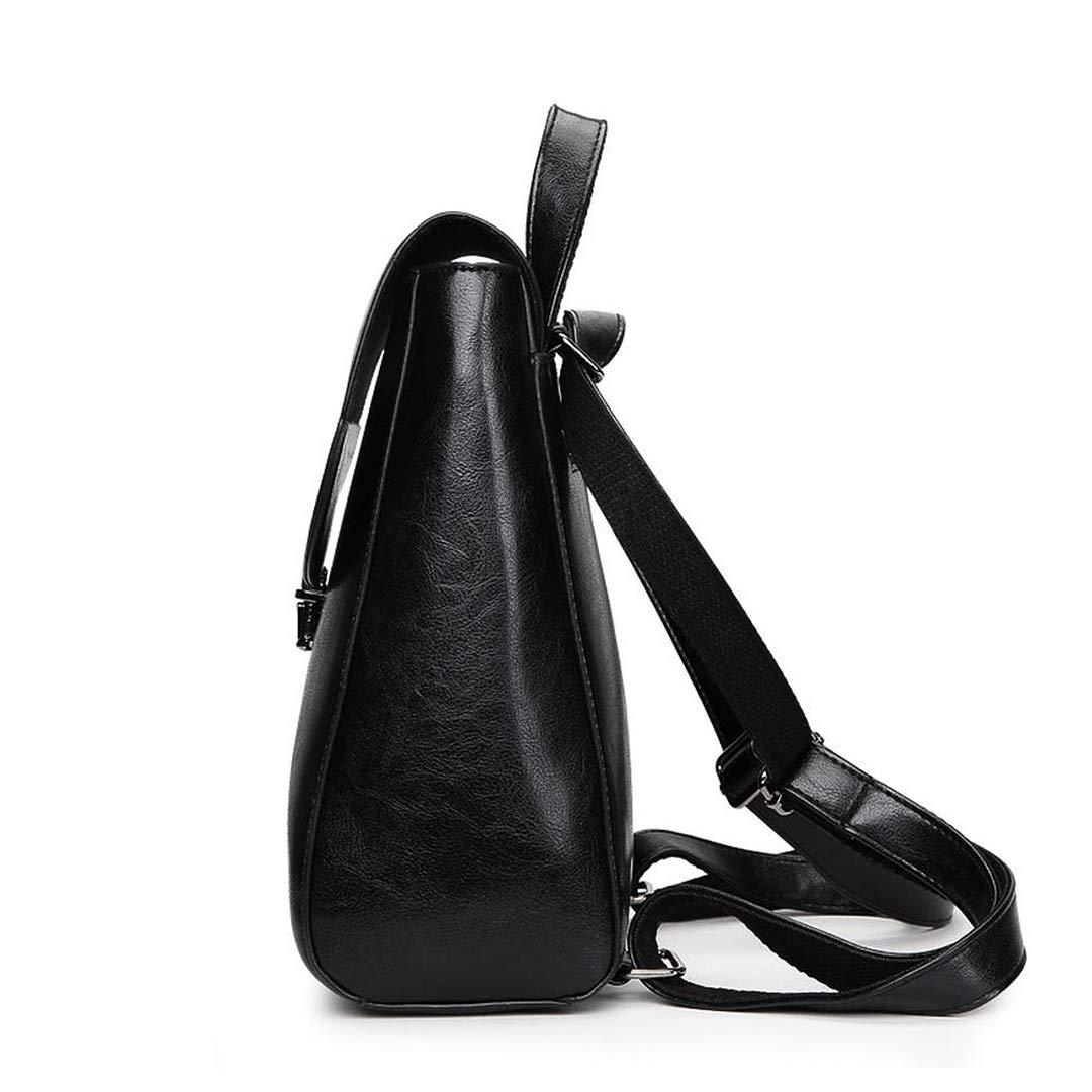Jiu Bu ryggsäck vattentät stöldsäker lätt PU-läder ryggsäck mode handväska kvinnor axelväska flickor resor ryggsäck grå Svart