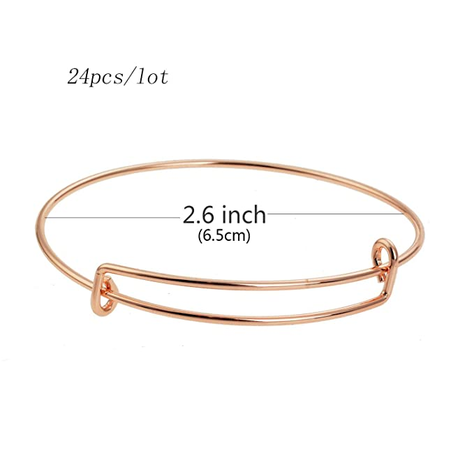 Topus 24 Pcs Expandable Bangle Bracelet Silver, Gold, Rose Gold, White K Stainless Steel Metal Womens Expandable Blank Bangle Adjustable Wire Bracelet for Womens DIY Jewelry Making