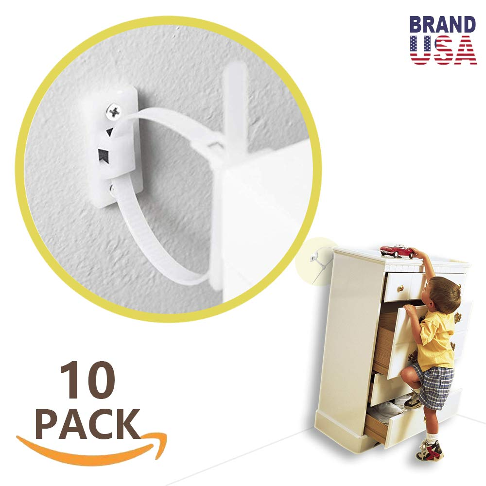 Furniture Straps (10 Pack) Baby Proofing Anti Tip Furniture Anchors Kit, Cabinet Wall Anchors Protect Toddler and Pet from Falling Furniture, Adjustable Child Safety Straps Earthquake Resistant by Caan's News