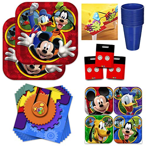 Mickey Mouse Clubhouse Party Supply Bundle - Serves 16 Guest -Kids Birthday Party Kit Includes Plates, Napkins, Cups, Table Cover, Favor Bags]()