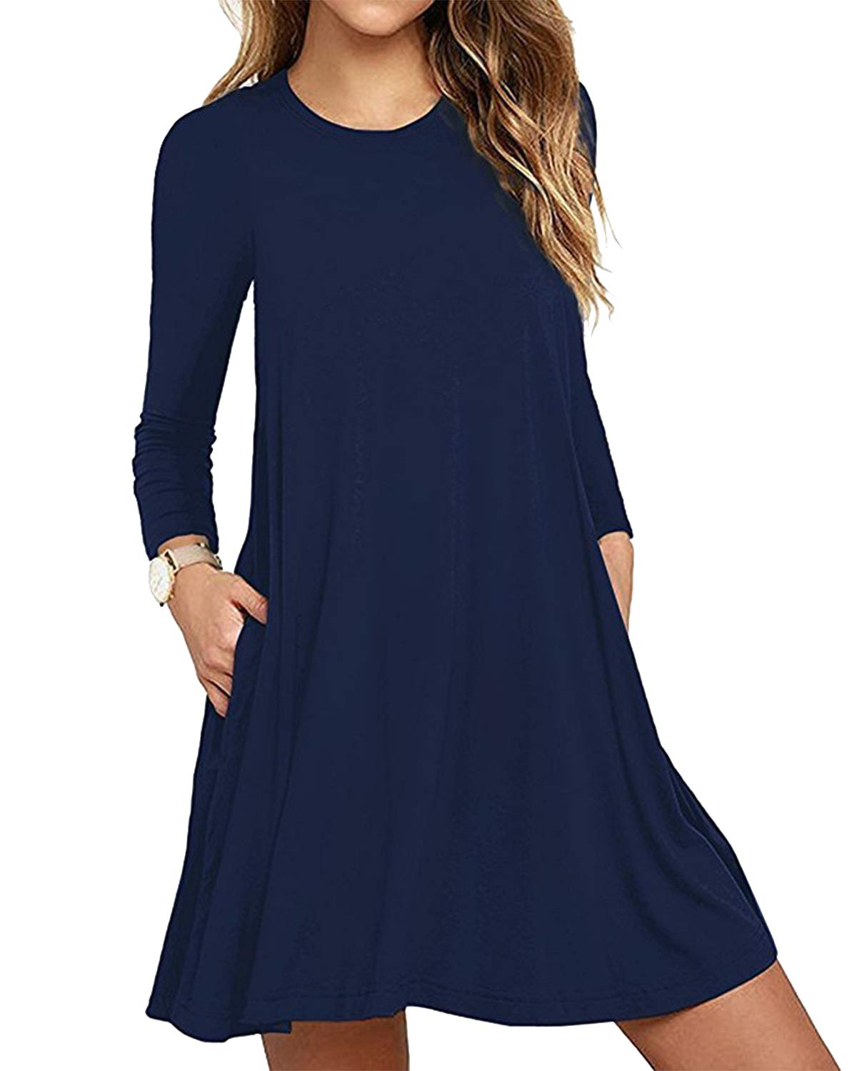 Deesdail Swing Dress with Pockets, Round Neck Long Sleeves Casual Tunic Dresses for Women Curved Hem Jersey Knit Loose Fitting Shirts Navy Blue
