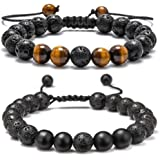 Lava Rock Bracelet - 8mm Stone Tiger Eye Bracelet Lava Rock Bracelet , Stress Relief Yoga Beads Adjustable Bracelet Anxiety Aromatherapy Essential Oil Diffuser Healing Lava Bracelet for Men Women