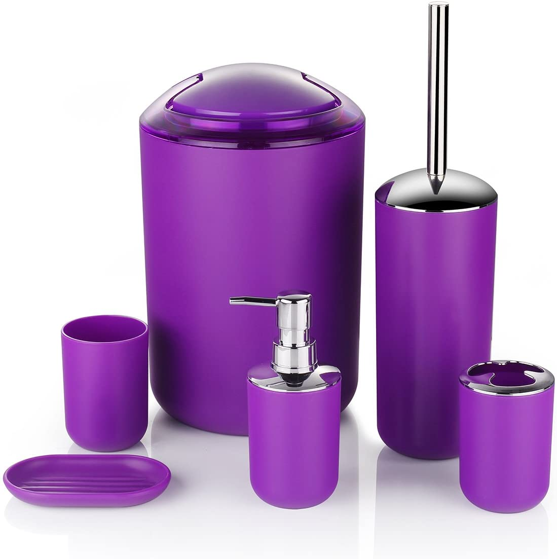 Amazon Com Zuvo 6 Pcs Plastic Bathroom Accessory Set Luxury Bath Accessories Bath Set Lotion Bottles Toothbrush Holder Tooth Mug Soap Dish Toilet Brush Trash Can Rubbish Bin Purple Home Kitchen