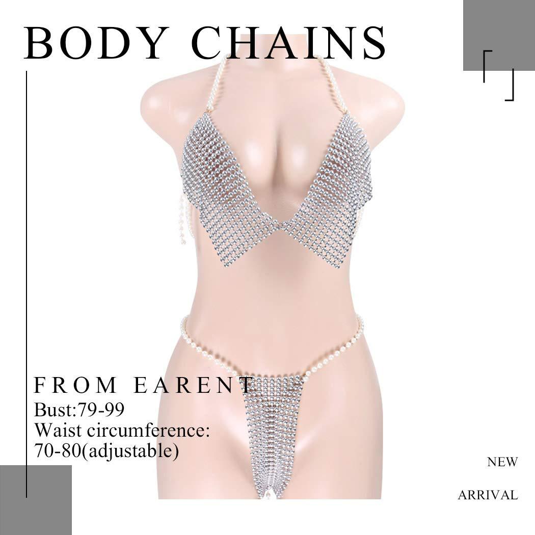 Earent Boho Pearl Chest Chain Set Silver Beach Bikini Body Belly Chains Nightclub Bra Breast Chains Summer Cuban Body jewelry for Women and Girls