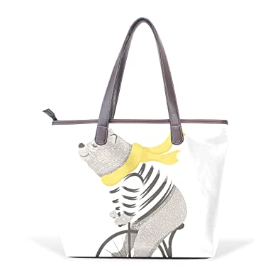 6fe56384b7 Image Unavailable. Image not available for. Color  Womens Handbags Casual  Bear Purses Shoulder Bags Big Capacity Satchel PU Leather Multi-Pocket Tote