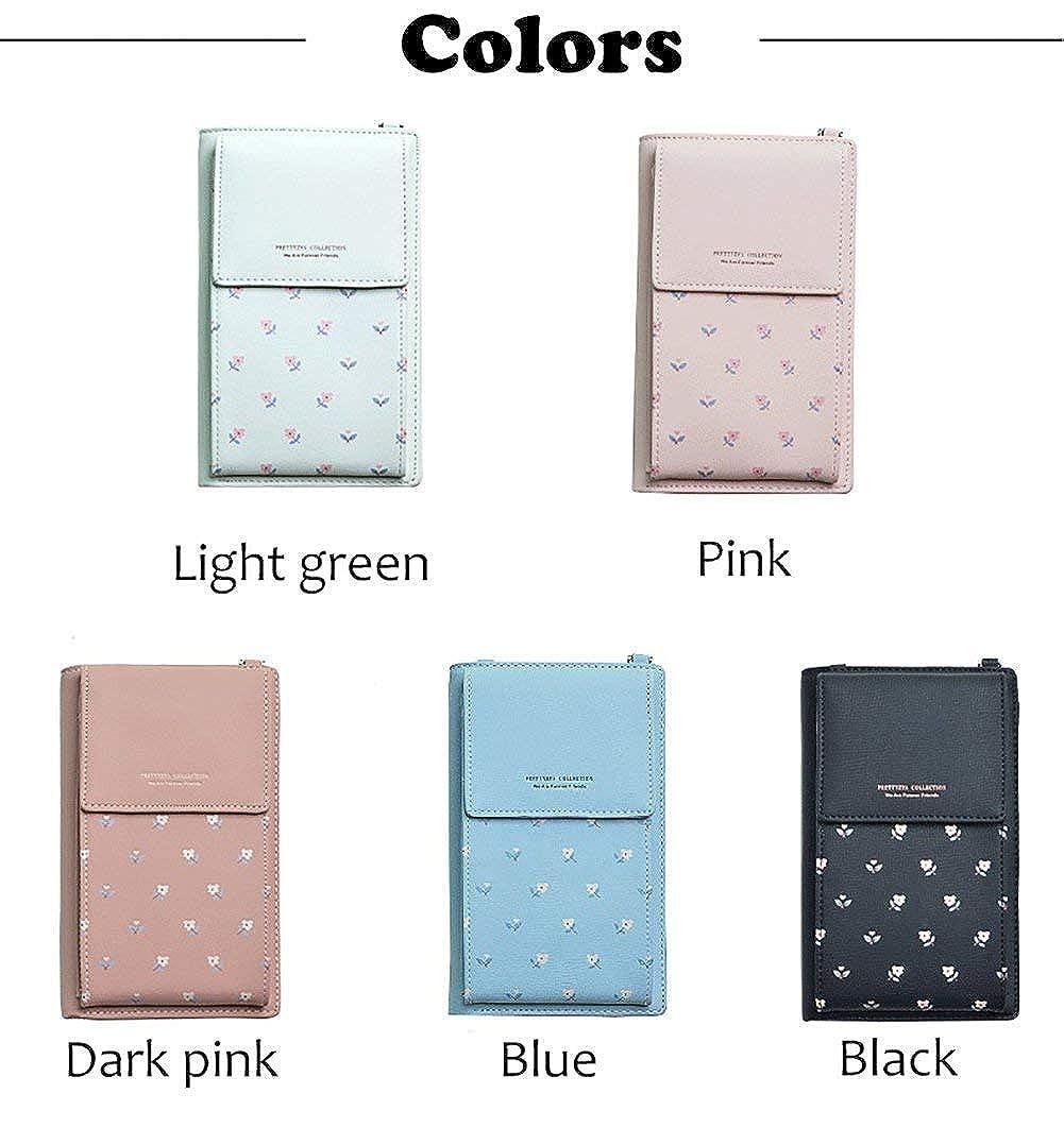 HMILYDYK Women Wallet Cross-body Bag Leather Purse Coin Cell Phone Mini Pouch Card Holder Shoulder Wallet Bag