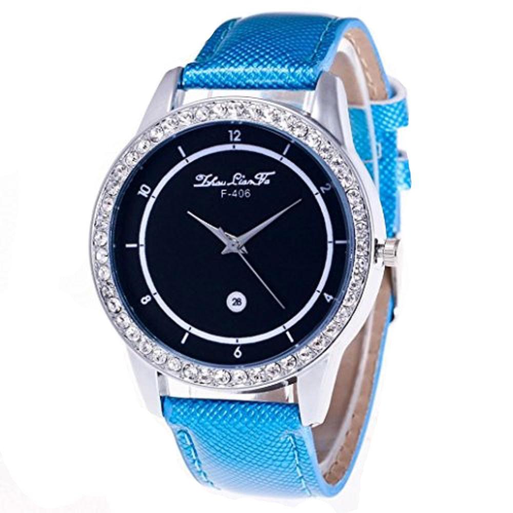 howstar Mens Watch Stainless StellユニセックスクオーツシンプルPUレザーアナログ腕時計ラウンドケース腕時計  ブルー B072BPMBMW