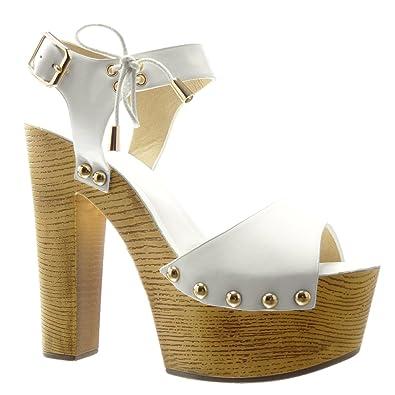 Angkorly Chaussure Mode Sandale Mule Plateforme Femme Clouté Métallique  Bois Talon Haut Bloc 14 cm - a761ca42d054