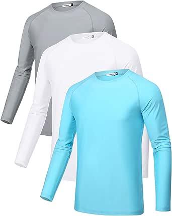 Sykooria 3 Piezas Camisetas Manga Larga Hombres Deporte UPF 50+ Protección UV, Secado Rápid Top Deportiva Shirt Camiseta Cuello Redondo para Correr Trotar Fitness Ciclismo Entrenamiento Yoga Casual