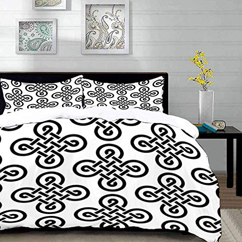 Celtic Motif Knot - Duvet Cover Set,Celtic Old-Fashion Irish Celtic Knot Motifs in Symmetric Regular Design European Culture Theme Theme Image,Brown Beige,Queen/Full Size Decorative 3 Piece Bedding Set with 2 Pillow Sham