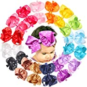 Baby Girls 6 Inch Big Bows Headbands Sparkle Boutique Hair Bow Headwear Hair Bands For Baby Newborn Infant and Toddlers Hair Accessory (Pack of 16)