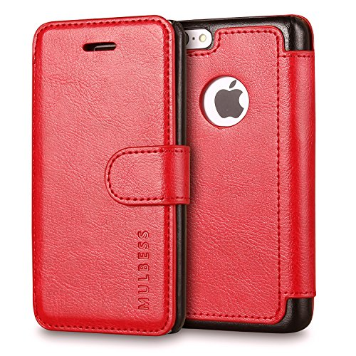 iPhone 5c Case Wallet,Mulbess [Layered Dandy][Vintage Series][Wine Red] - [Ultra Slim][Wallet Case] - Leather Flip Cover with Credit Card Slot for Apple iPhone 5c