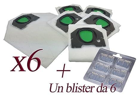Bolsas de microfibra + ambientador para aspiradora Kobold Vorwerk VK200 y VK201 6 Sacchetti + 6 Profumini