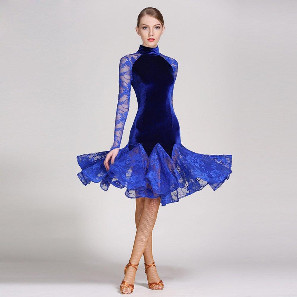 現代の女性大きな振り子ベルベットモダンダンスドレスタンゴとワルツダンスドレスダンスコンペティションスカート長袖レースダンスコスチューム B07HHXGSZ1 XXL Blue Blue XXL