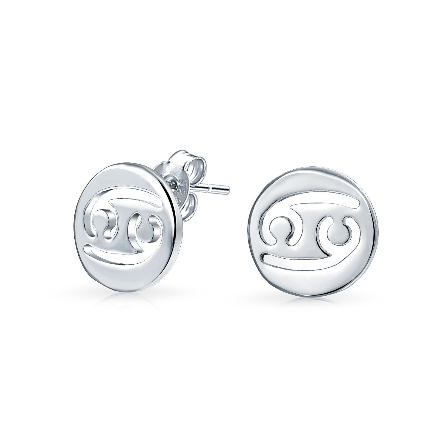Bling Jewelry .925 Sterling Silver Cancer Zodiac Sign Round Disc Stud Earrings WJ-SWE1046S-08