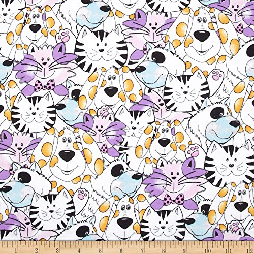 Flannel Dogs & Cats Multi Fabric By The Yard (Purple Flannel Fabric)