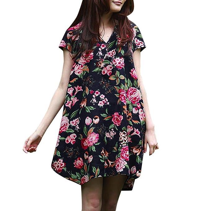 STRIR Mujer Vintage Vestido Años 50 Falda Impresión Floral Sin Mangas Vestidos de Fiesta (M