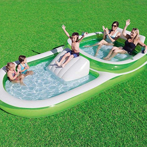 Bestway H2OGO! Two-In-One Wide Inflatable Family Outdoor Pool, Features Dual Pool and Slide Combo, Cup Holders, Easy Set Up, Green/White -