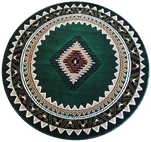 [South West Native American Round Area Rug Design Kingdom D 143 Hunter Green (4 Feet X 4 Feet) Round] (Tan Green Circles)