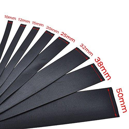 1 yard Nylon Ribbon Safety Belt Computer jacquard Ribbon Outdoor Backpack Bag Parts Black (Webbing 15mm) (Jacquard Ribbon Belts)