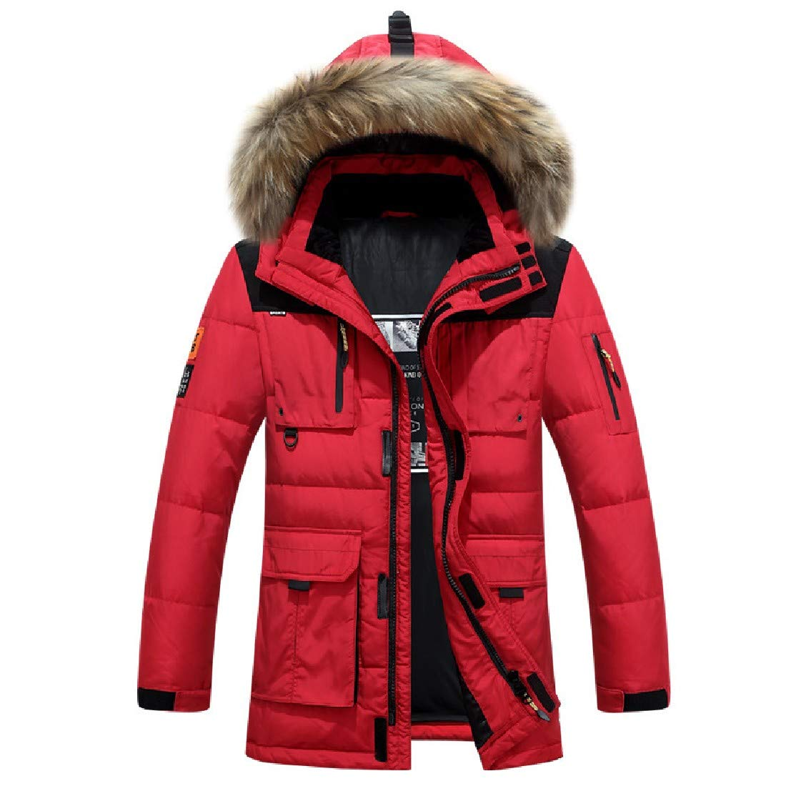 YUNY Mens Hooded Mid-Long Winter Outdoor Warm Down Puffer Jacket Red L
