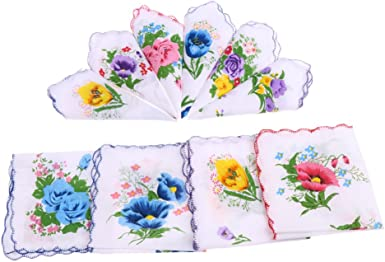 10pcs Ladies Women Pockets Square Cotton Handkerchiefs Hankies Hanky Gift Box