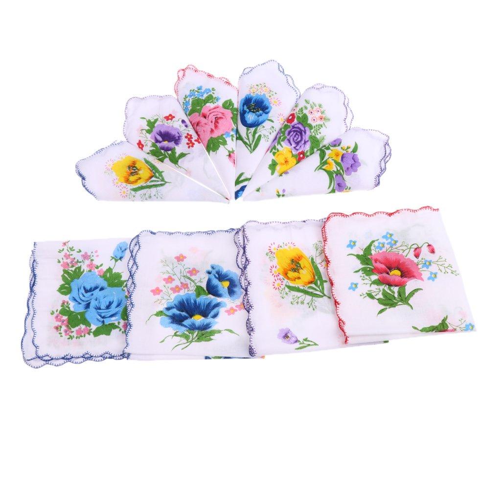 P Prettyia 10pcs Vintage Floral Hankies Ladies Cotton Pocket Hanky Square Handkerchiefs