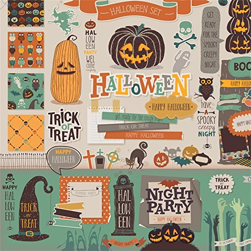 Laeacco Happy Halloween Backdrop 8x8ft Vinyl Photography Background Trick Or Treat Scrapbook Set Pumpkin Lamp Get Ready for The Spooky Creepy Night Party Black Cat Owl Poster Chid Baby Shoot
