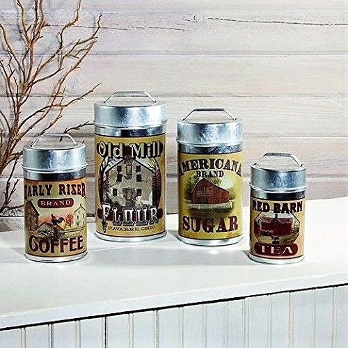 Set of 4 Tin Food Safe Old Mill Advertising Canisters Flour Sugar Coffee Tea ()
