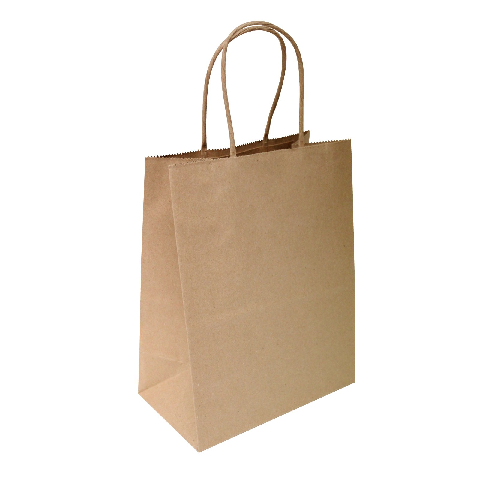 Flexicore Packaging 8''x4.75''x10''-100 Pcs-Brown Kraft Paper Shopping, Mechandise, Party, Gift Bags
