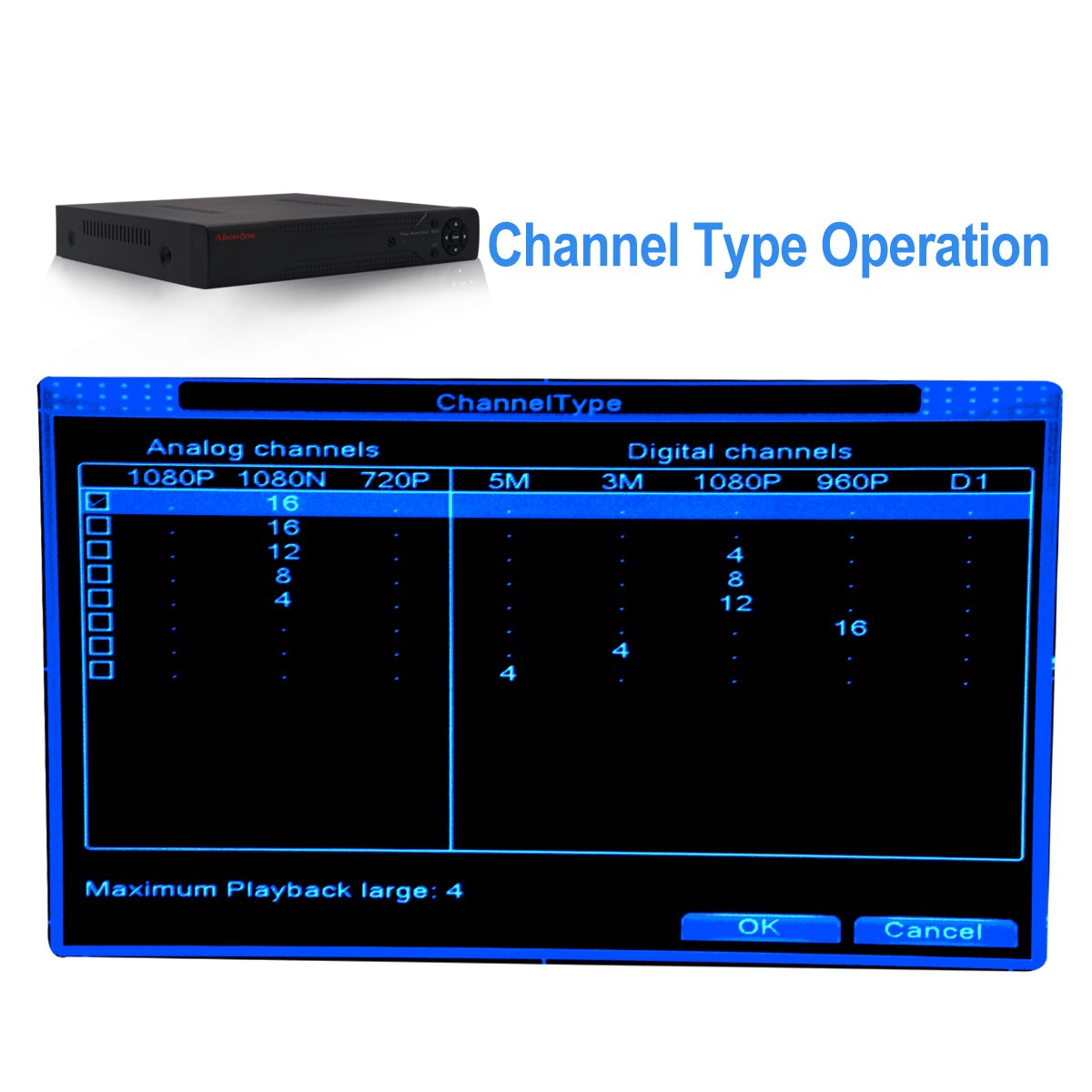 16 Channels DVR Recorder Hybrid DVR H.264 CCTV Security Camera System Digital Video Recorder(No hard drive included) by Abowone (Image #2)