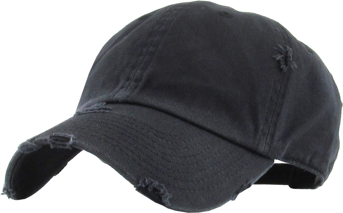 KBETHOS Vintage Washed Distressed Cotton Dad Hat Baseball Cap Adjustable Polo Trucker Unisex Style Headwear KBE-PG-VINTAGE BLK