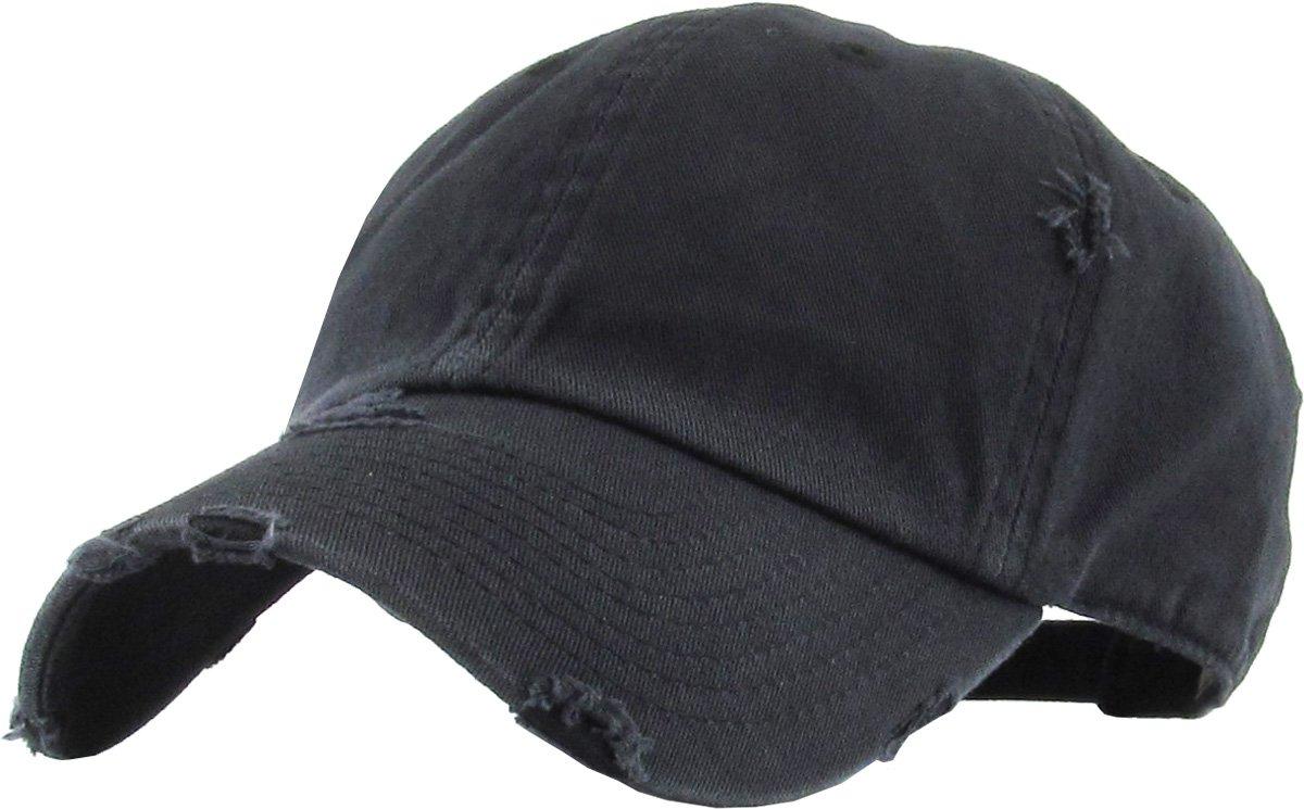 KBETHOS Vintage Washed Distressed Cotton Dad Hat Baseball Cap Adjustable Polo Trucker Unisex Style Headwear (Vintage Pigment) Black Adjustable