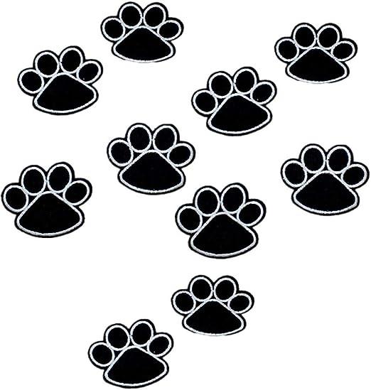 wimagic – Juego de 10 adhesivo de tela de huellas de perro negro aplique de bordado Diy parches de ropa Patches for ...